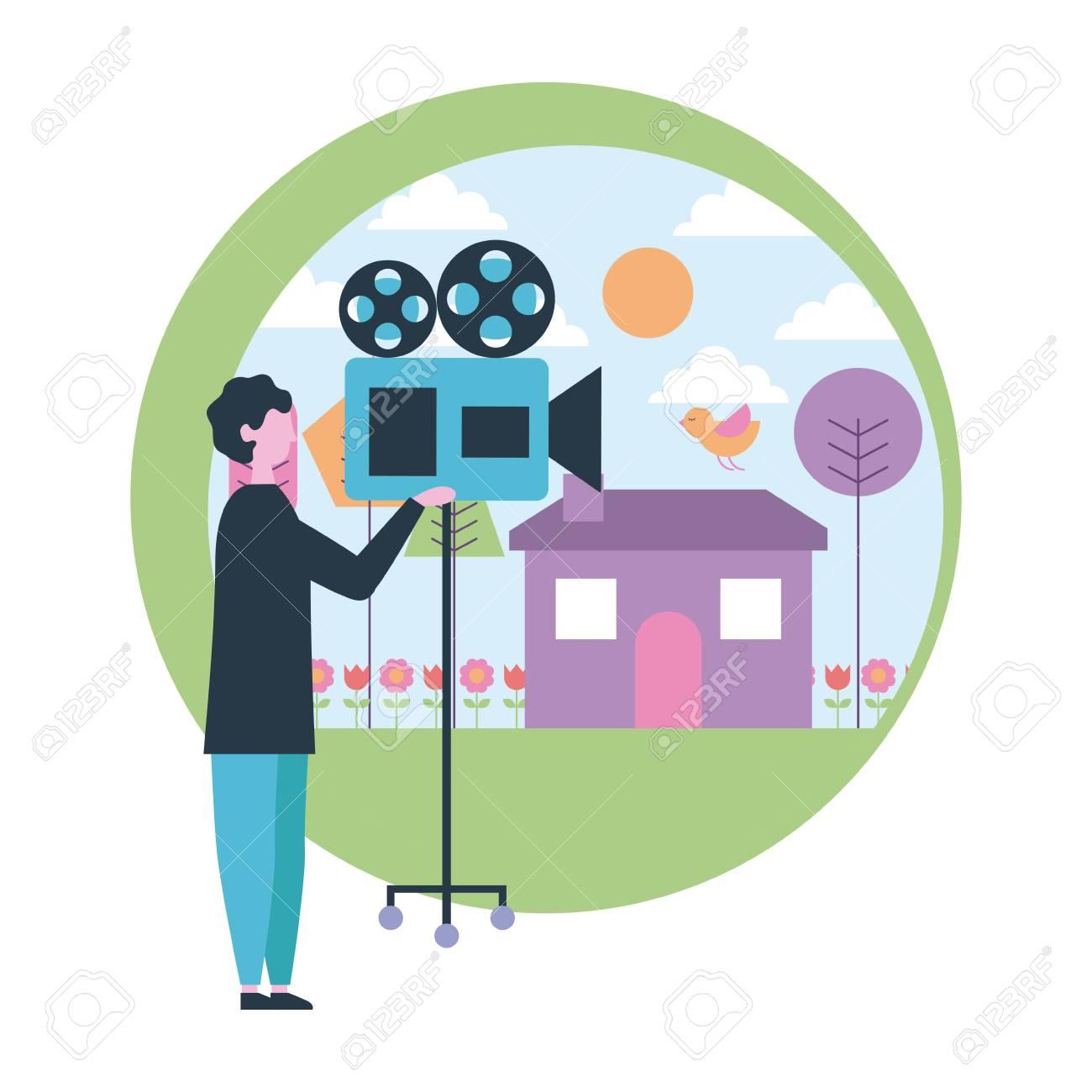 Movie production sticker man holding film camera scene park vector illustration stock vector 109663141