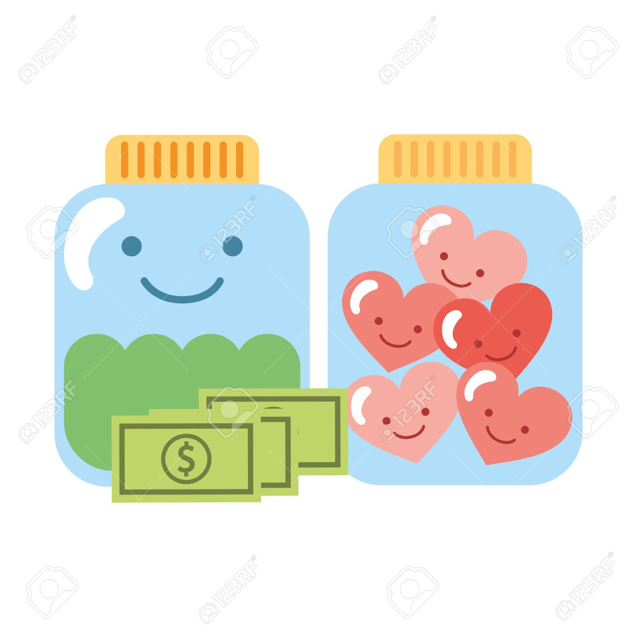 Glass Jar Cartoon Hearts And Money Charity Donation Vector Illustration Stock Photo Picture And Royalty Free Image Image 109697575