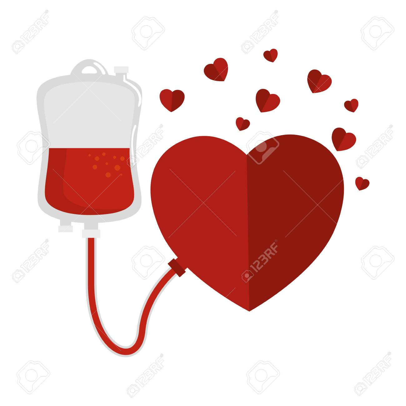 blood donation bag and hearts vector illustration design - 109886598