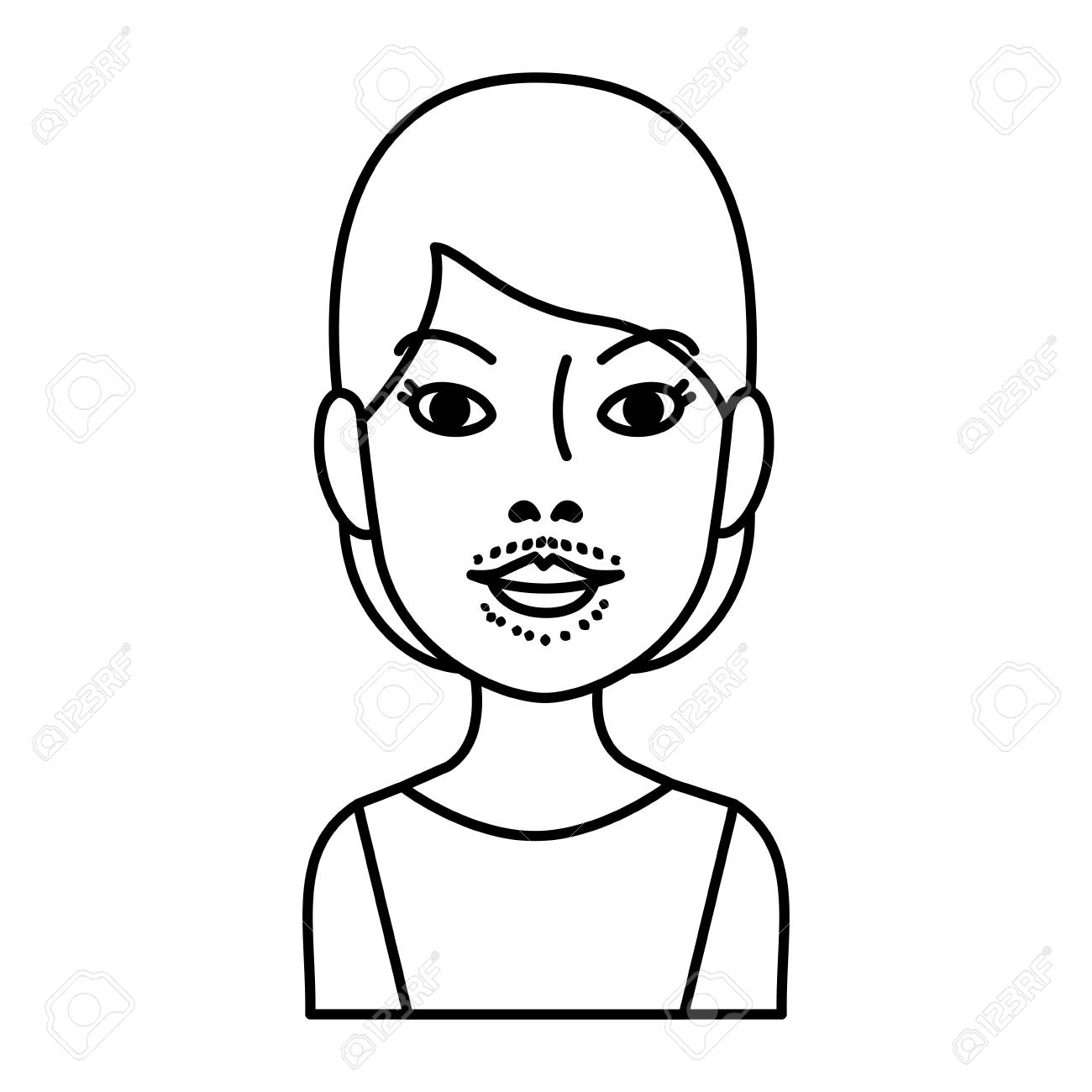 woman with facial hair vector illustration design - 109889976