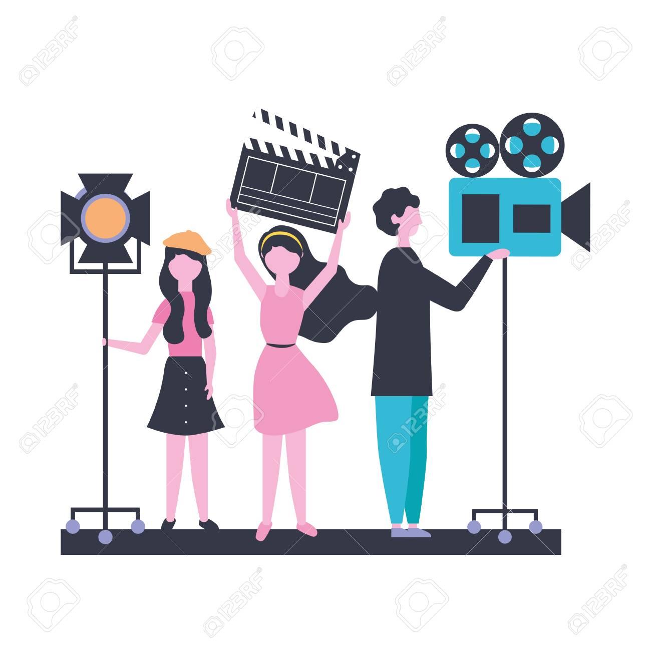 people team production movie film vector illustration - 109940059
