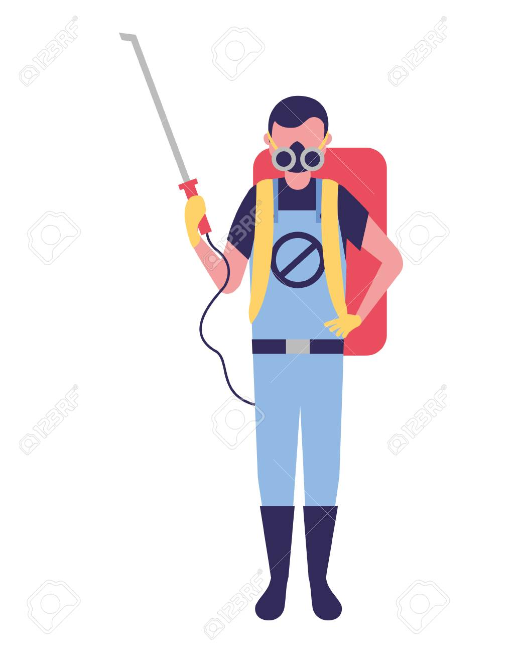 worker with mask and pest extermination machine vector illustration - 109954422