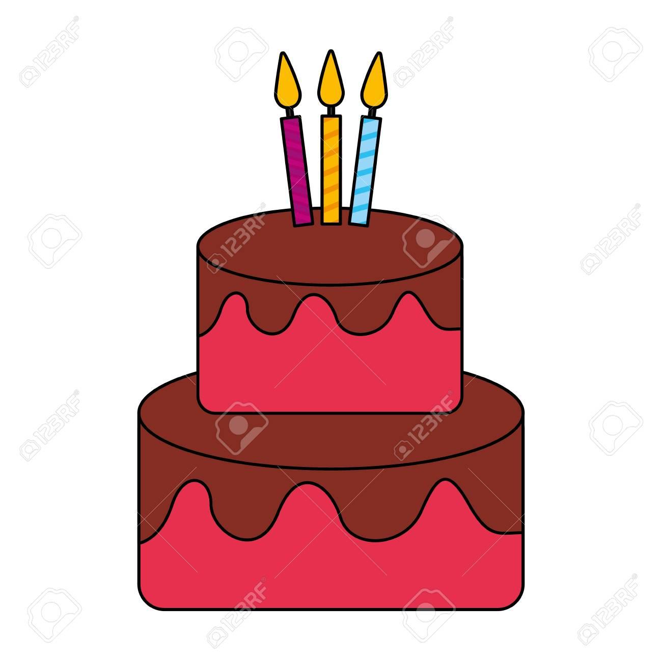 Happy Birthday Celebration Cake Tasty Vector Illustration Standard Bild