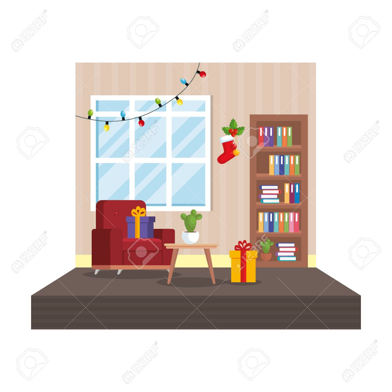 Living Room With Christmas Decoration Scene Vector Illustration