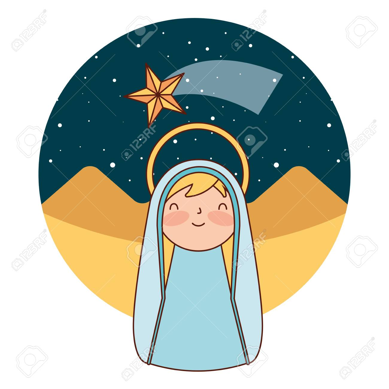 cute holy mary in the desert merry christmas vector illustration - 110830747
