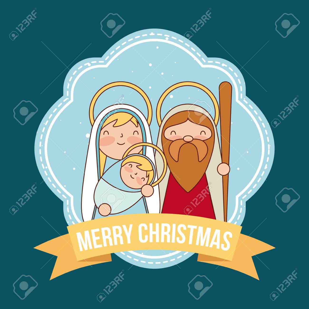Merry Christmas Ribbon Clipart.Merry Christmas Ribbon Sacred Family Holding Baby Vector Illustration