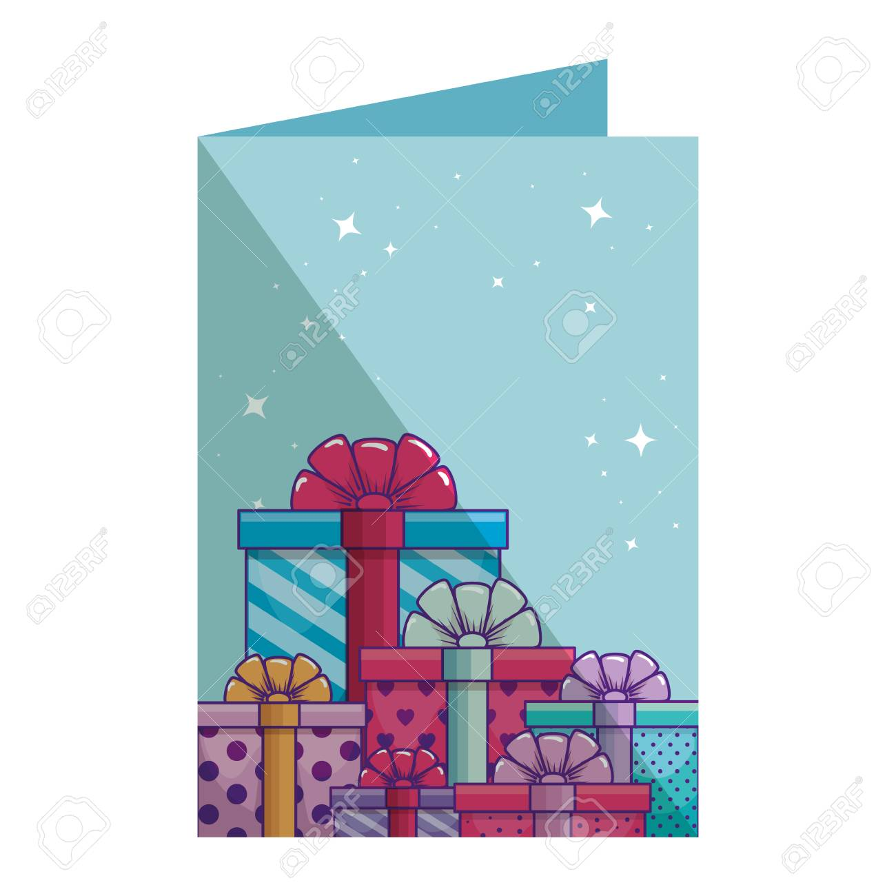 Birthday Card With Gifts Boxes Presents Vector Illustration Design Standard Bild