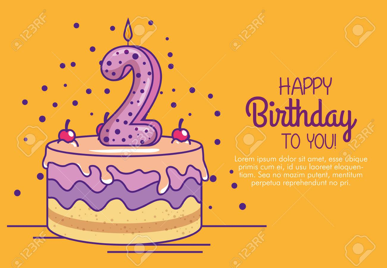 Happy Birthday Cake With Candle Number Two Vector Illustration Royalty Free Cliparts Vectors And Stock Illustration Image 111421271