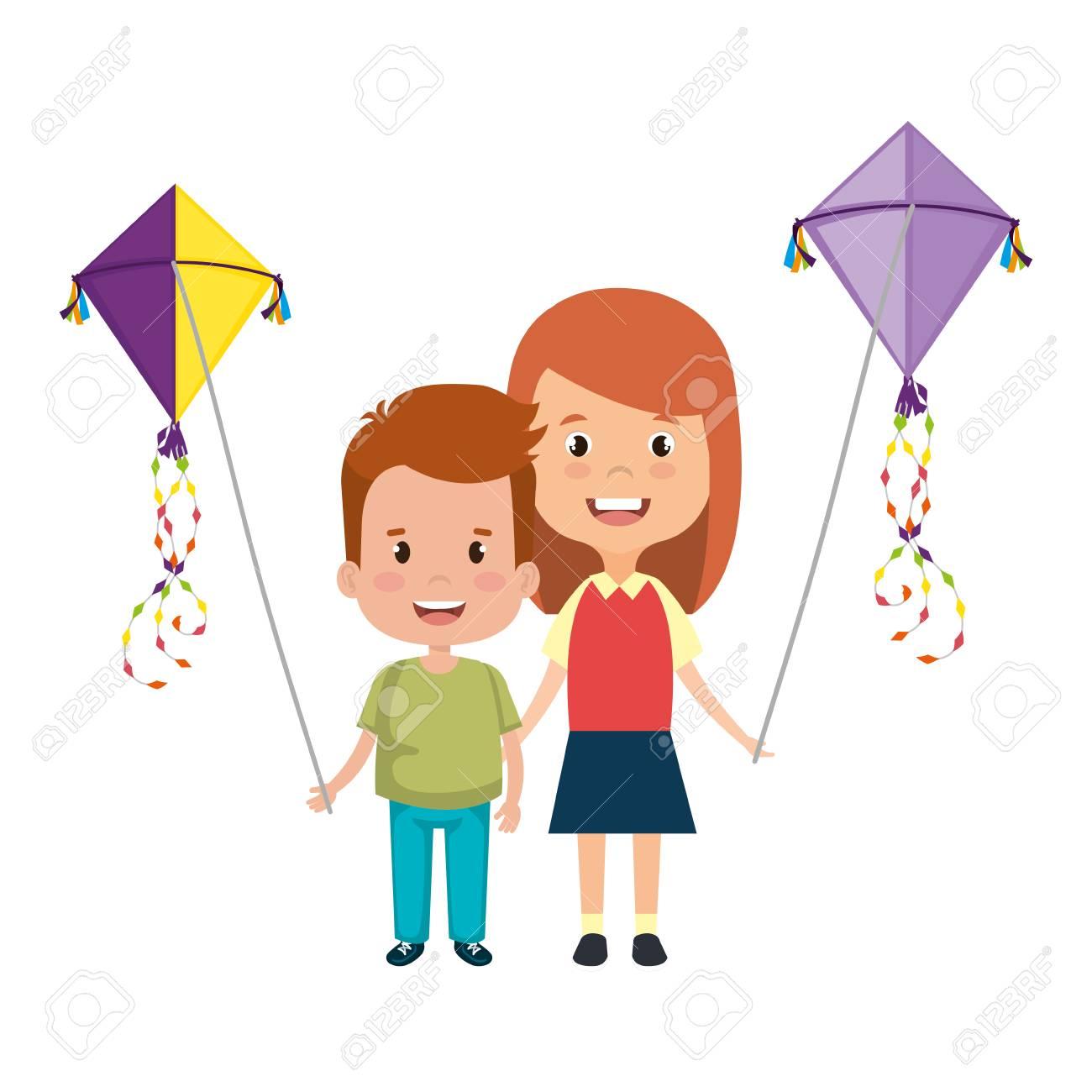 kids couple with kite flying vector illustration design - 127642339
