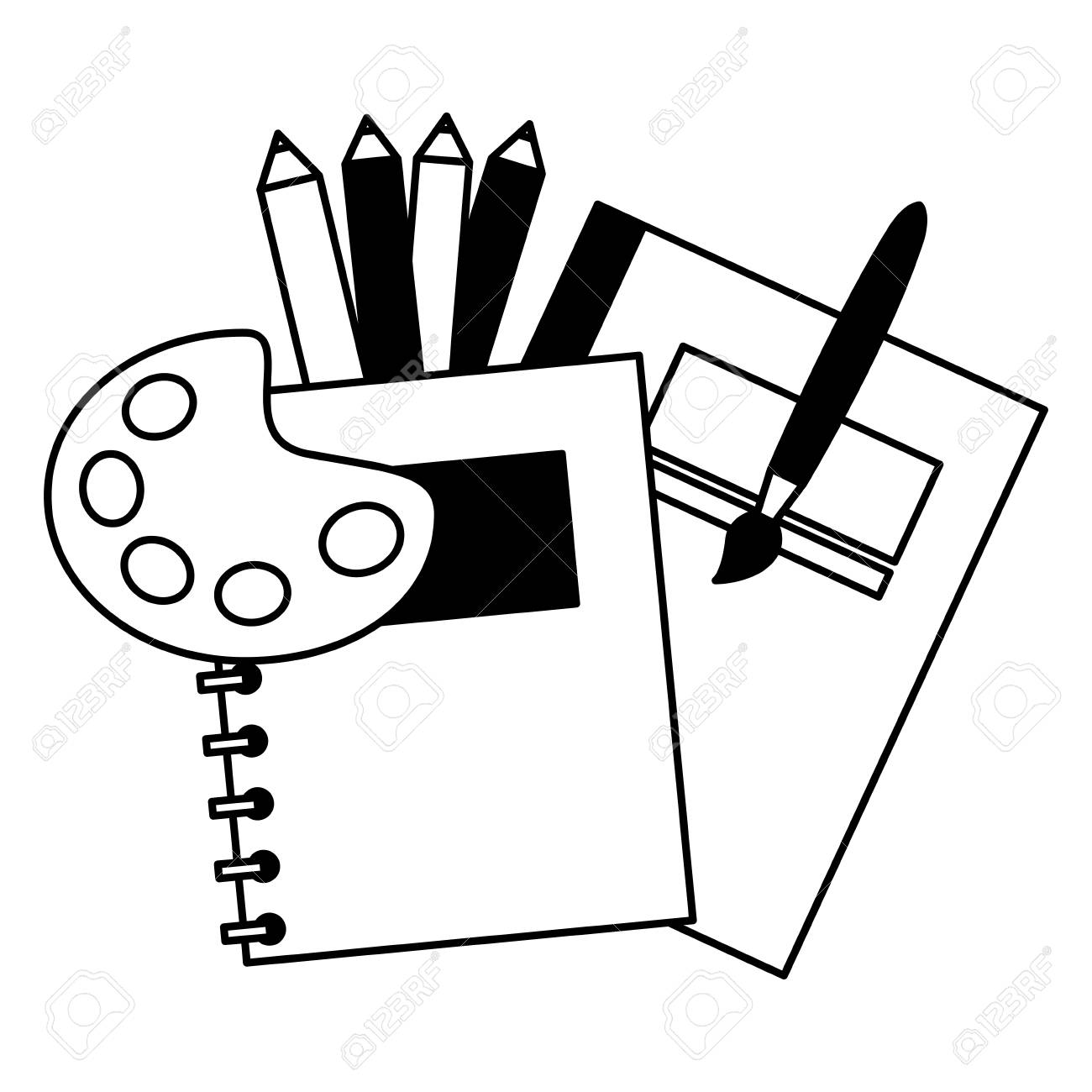 notebook palette color brush education school vector illustration - 112308525