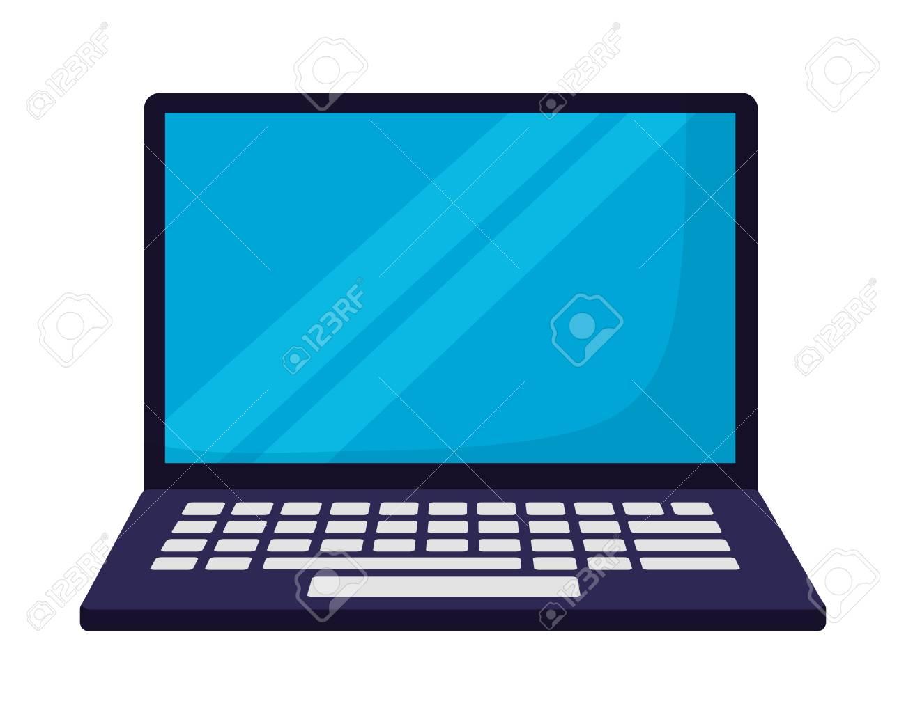 laptop computer on white background vector illustration - 127560990