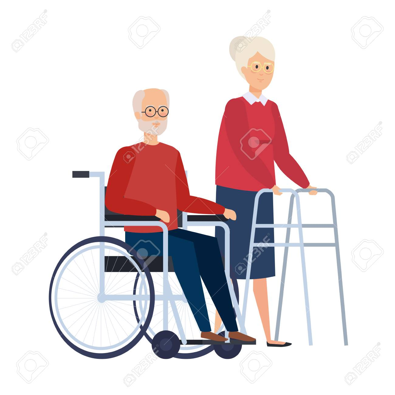 old woman with walker and old man in wheelchair vector illustration - 127515020