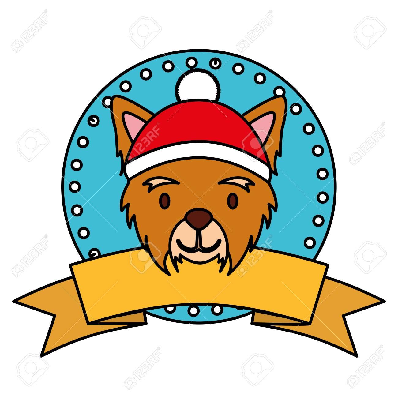 Merry Christmas Ribbon Clipart.Dog Merry Christmas Ribbon Label Vector Illustration