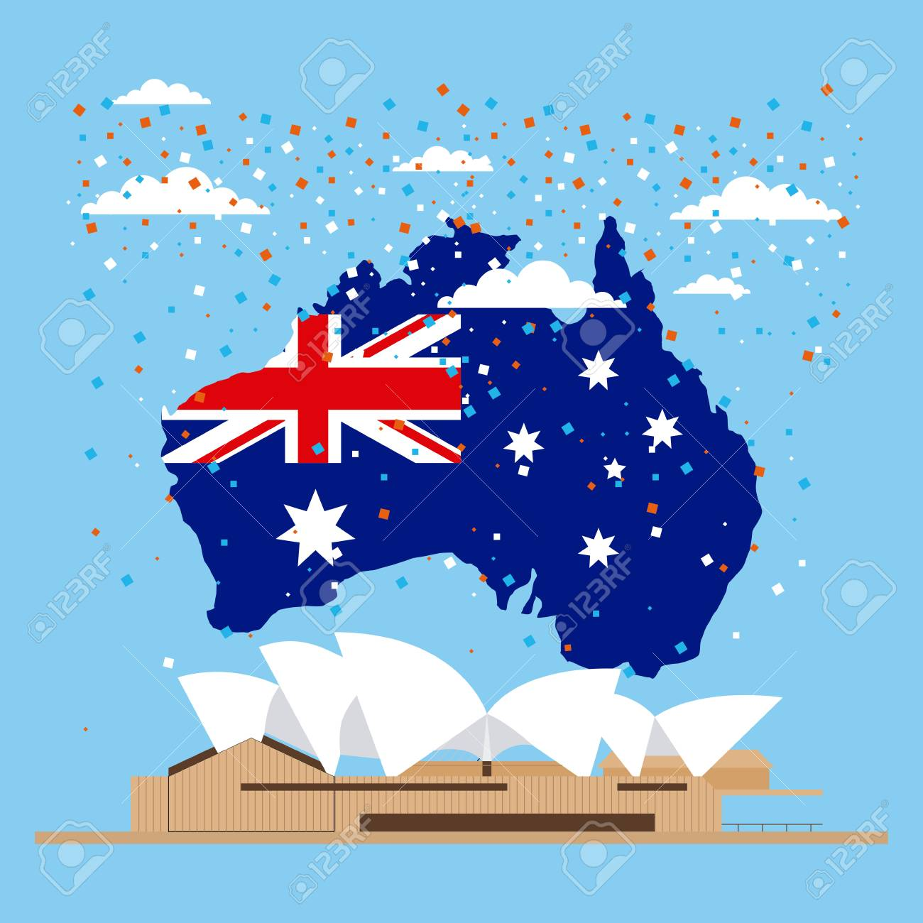 Australia Map With Flag.Australia Day Celebration Confetti Map Flag Sydney Vector Illustration