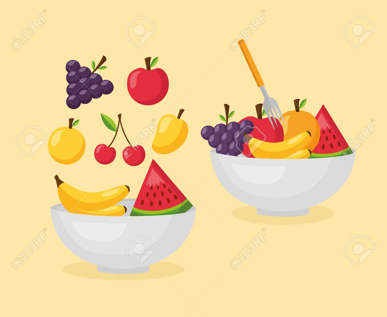 healthy food fresh bowls with fruits vector illustration - 126819934