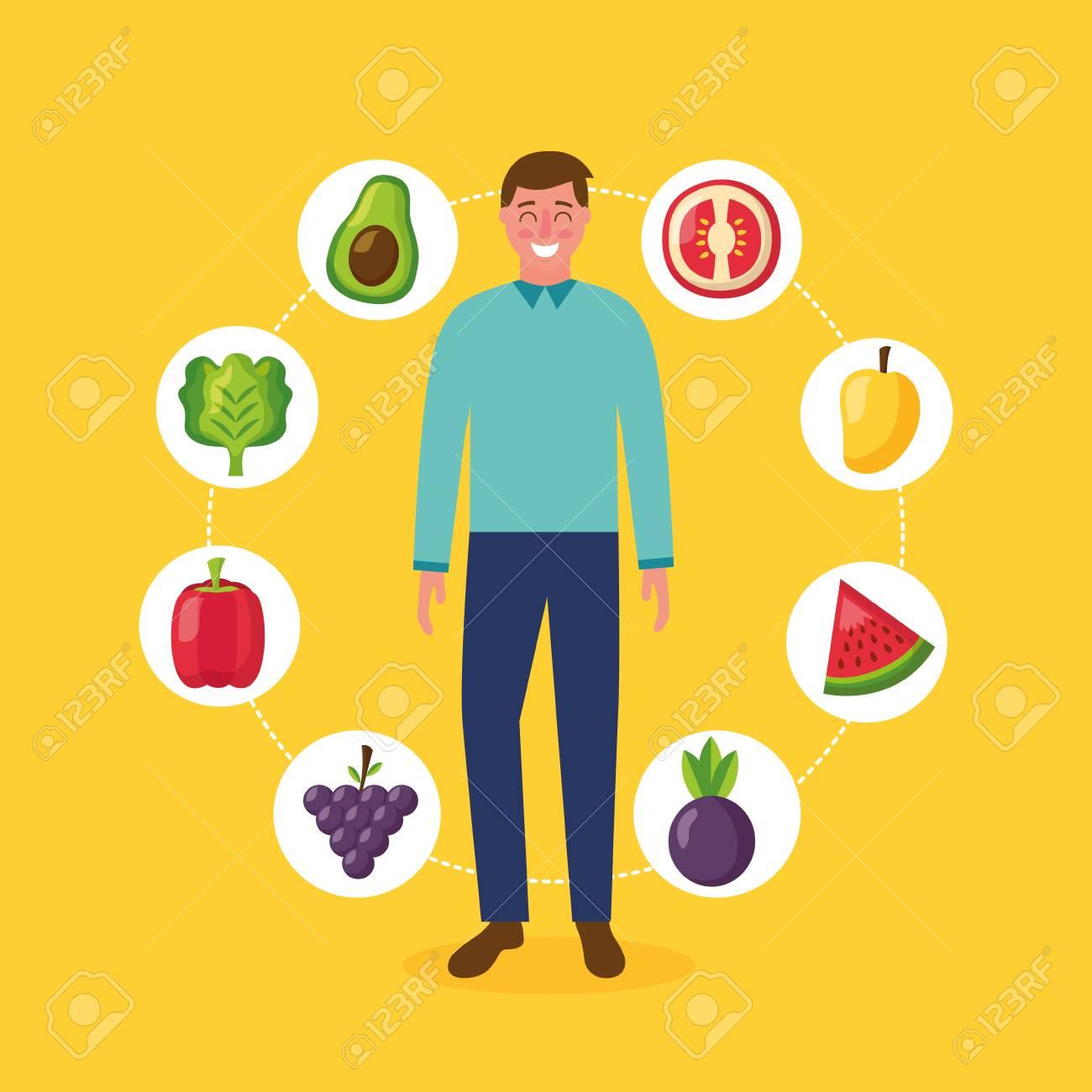 Healthy food man stickers watermelon mango tomato avocado grapes vector illustration stock vector 113813139