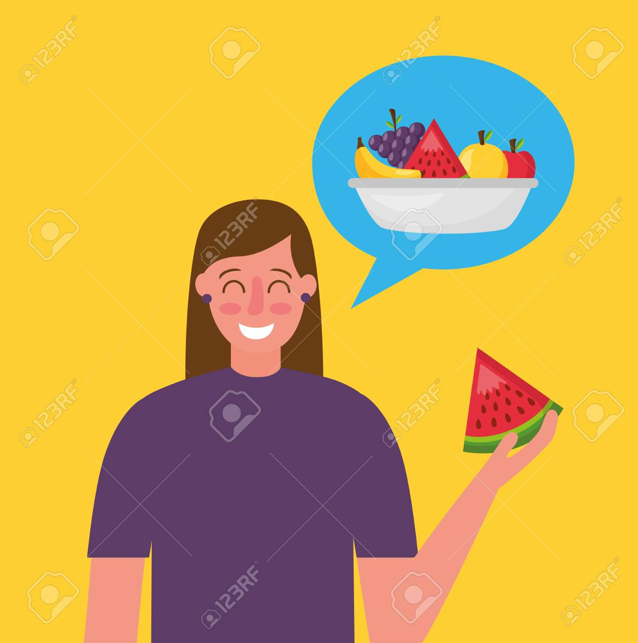 woman holding watermelon thinking healthy food vector illustration - 126819963