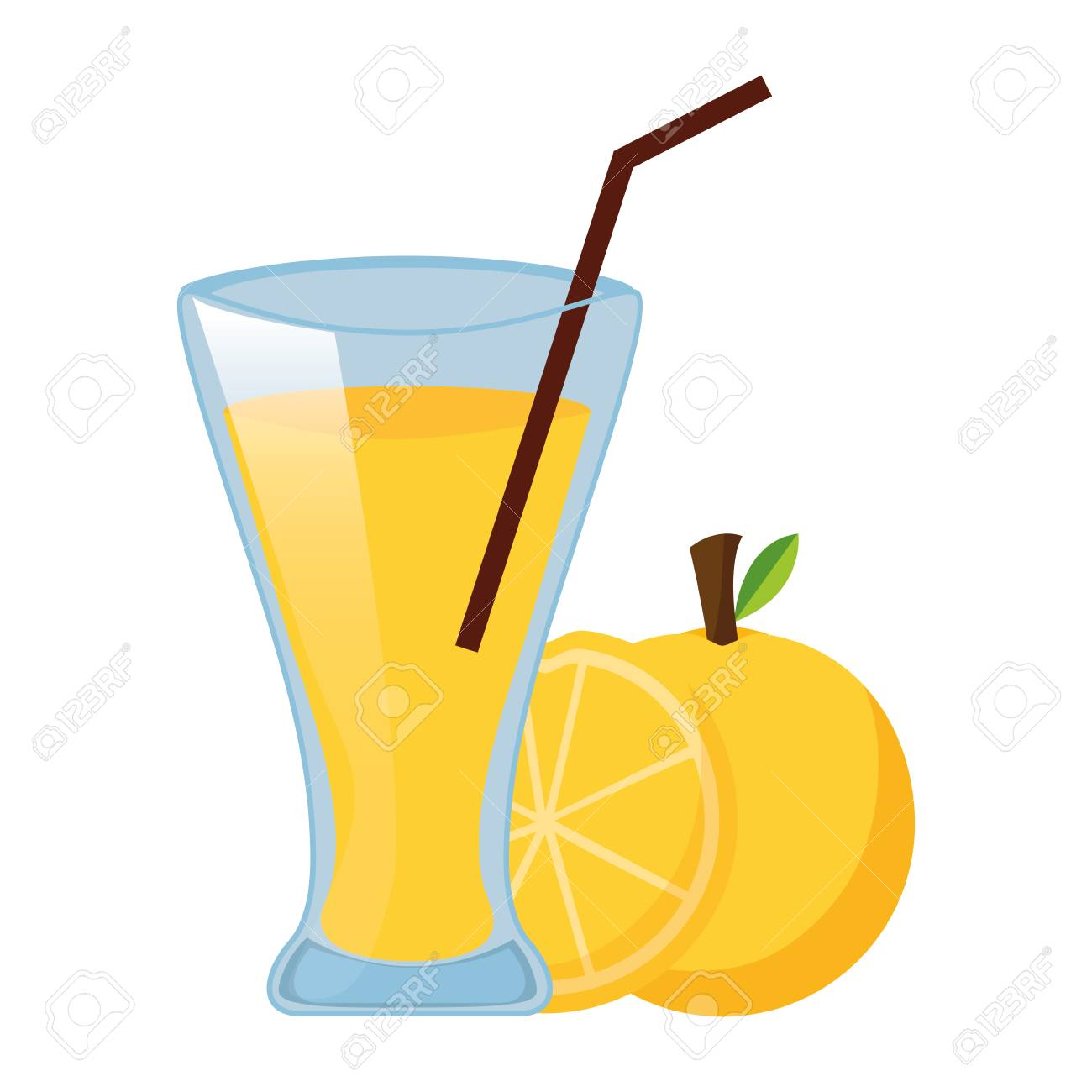 orange juice cup with straw vector illustration - 126820212