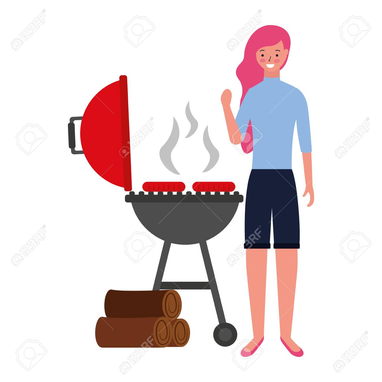 woman with barbecue sausages and wooden vector illustration - 126821045