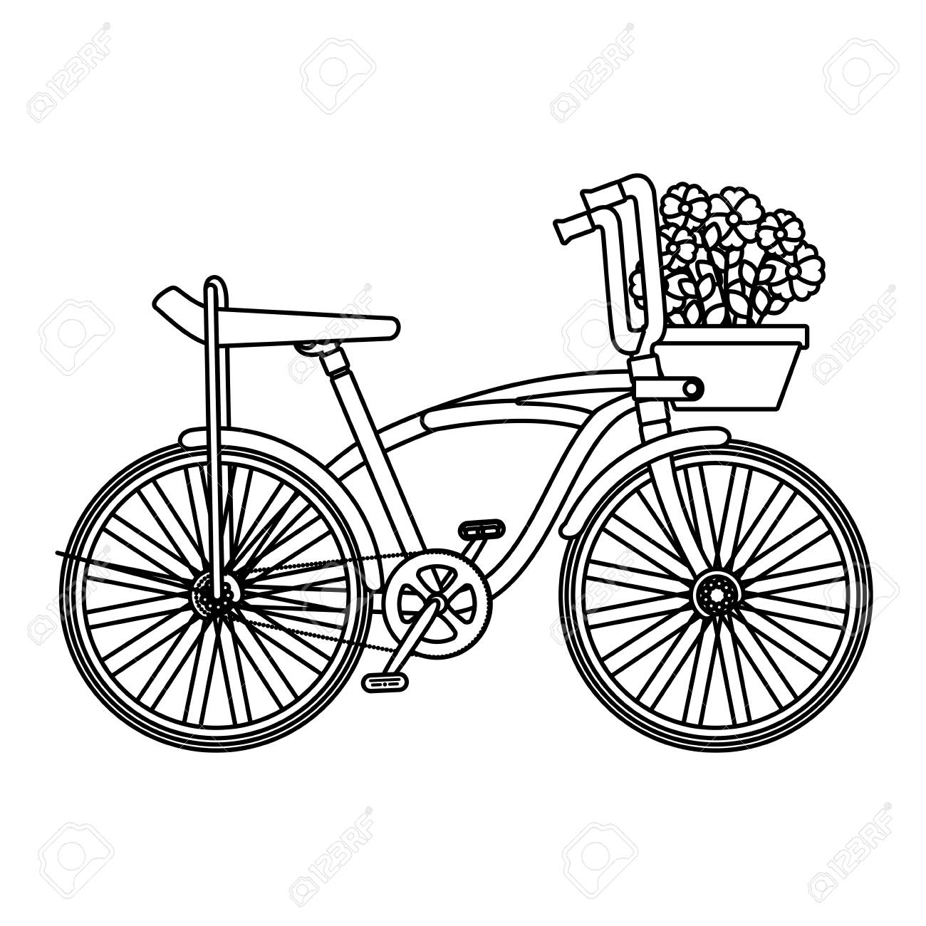 retro bicycle with basket and flowers vector illustration design - 126775162