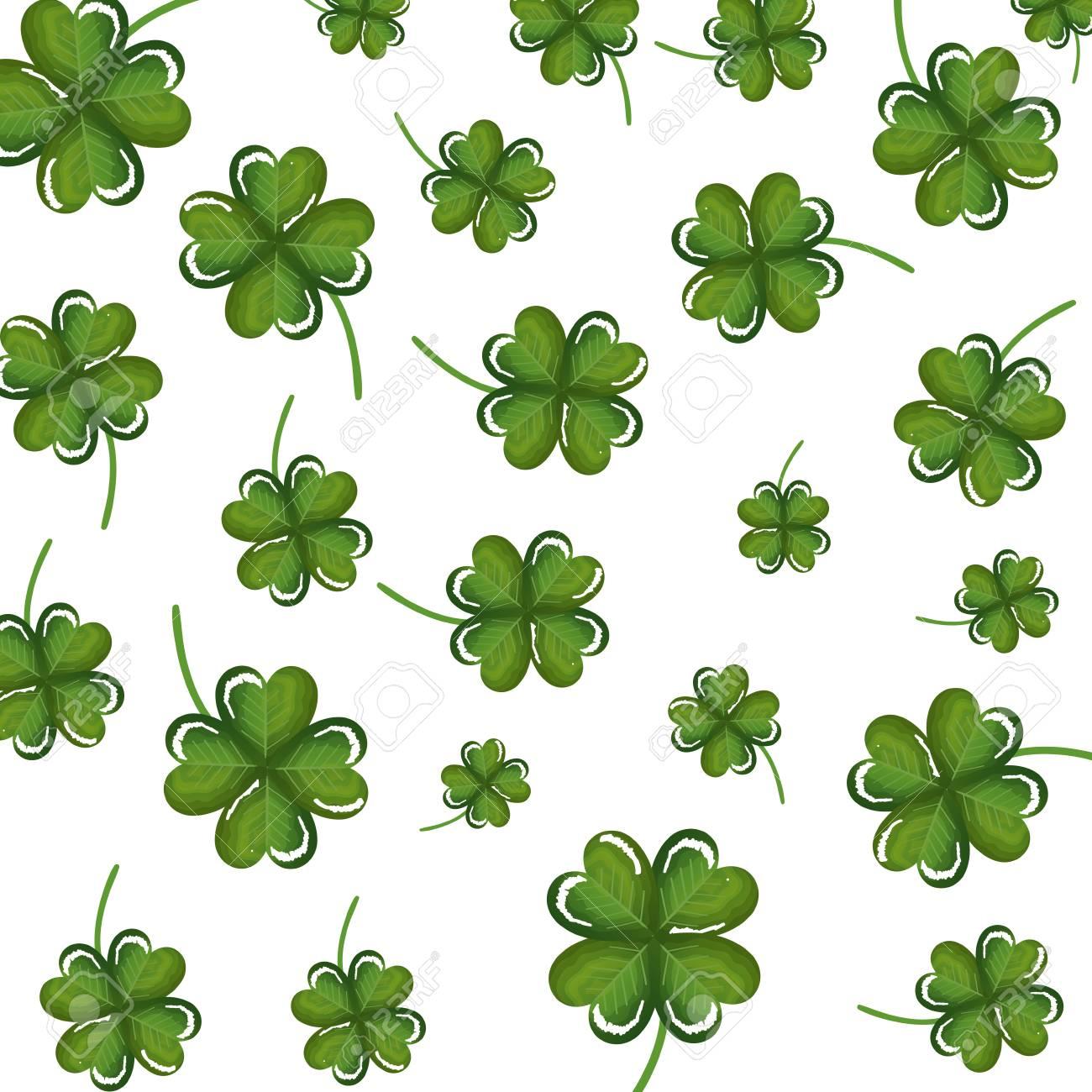 clovers leafs pattern background vector illustration design - 126775241