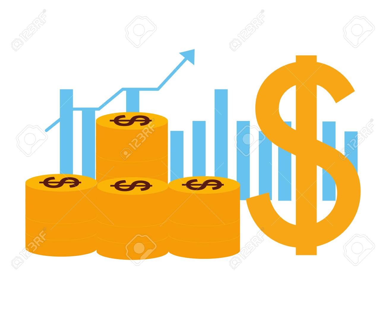coins dollar chart business money growth vector illustration - 126463812