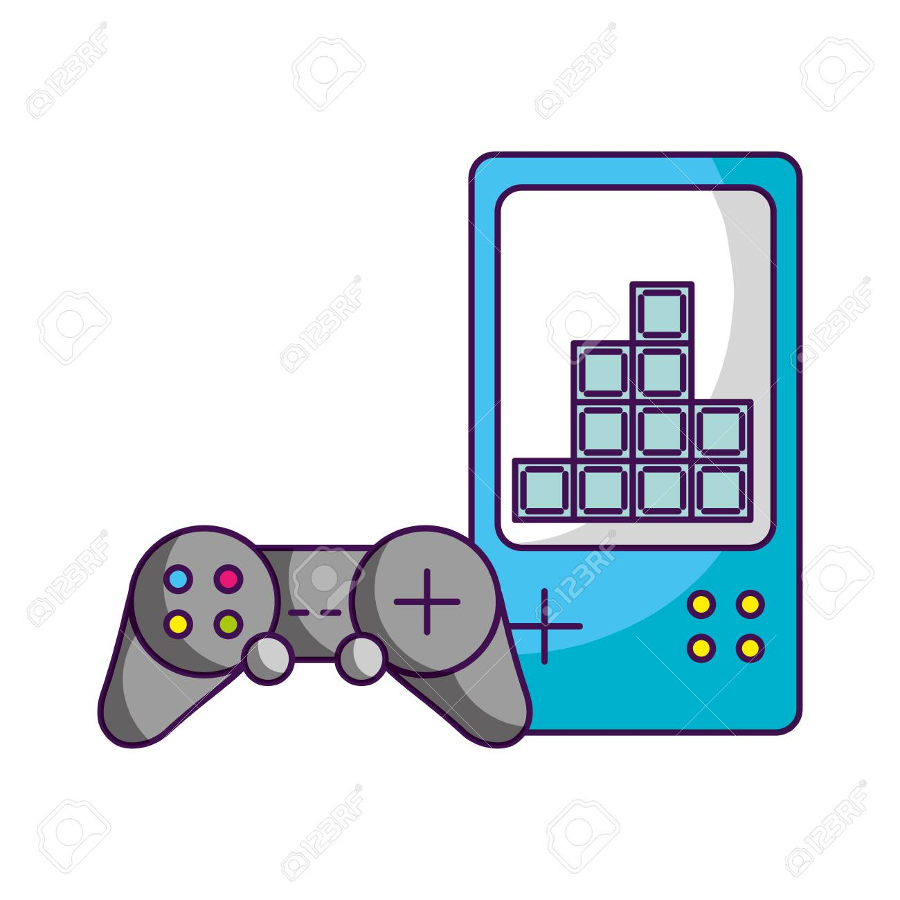 gamepad control video game white background vector illustration - 126463953