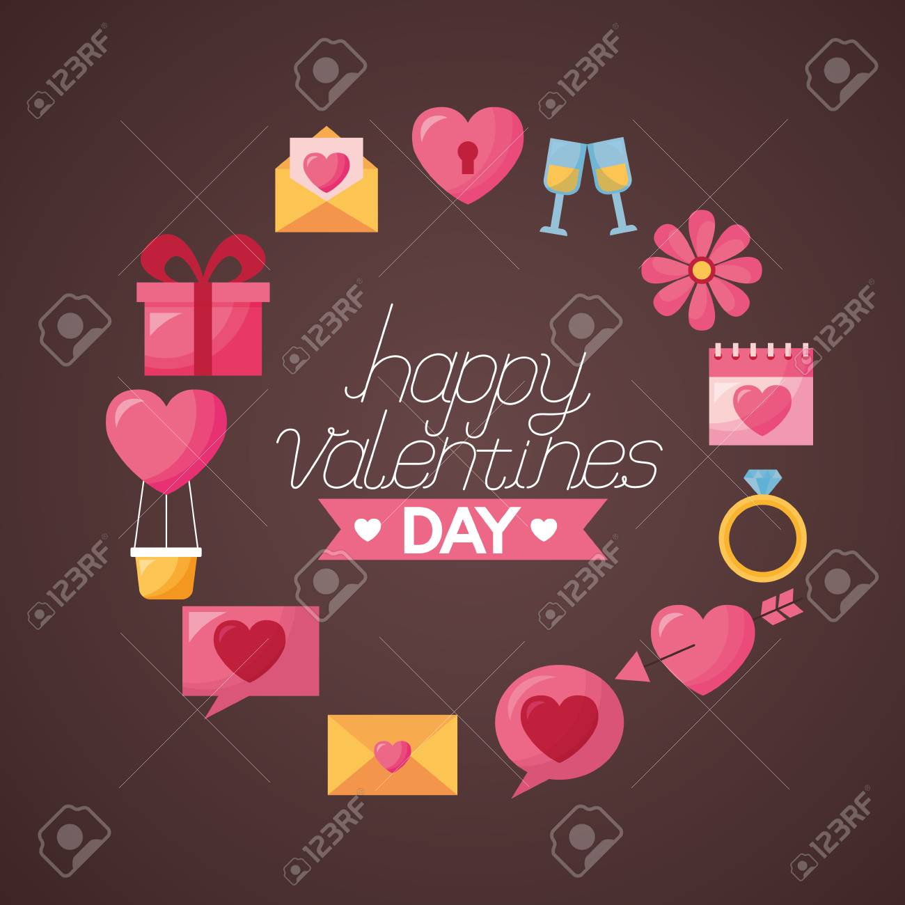 Valentine Day Frame Gift Message Heart Flower Arrow Balloon Vector