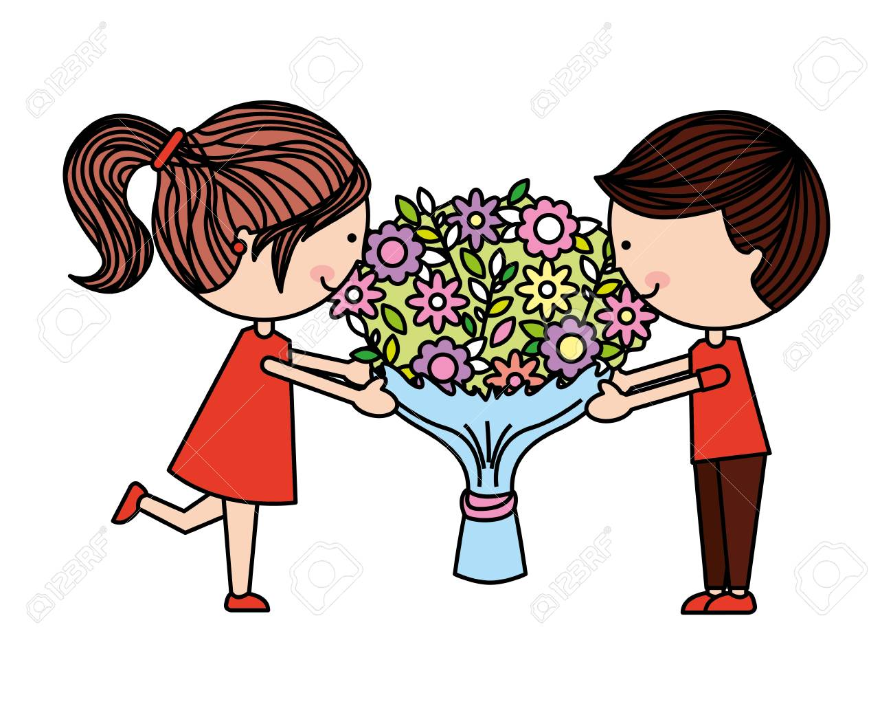 Cute Kids With Flowers Happy Valentines Day Vector Illustration Royalty Free Cliparts Vectors And Stock Illustration Image 115115762