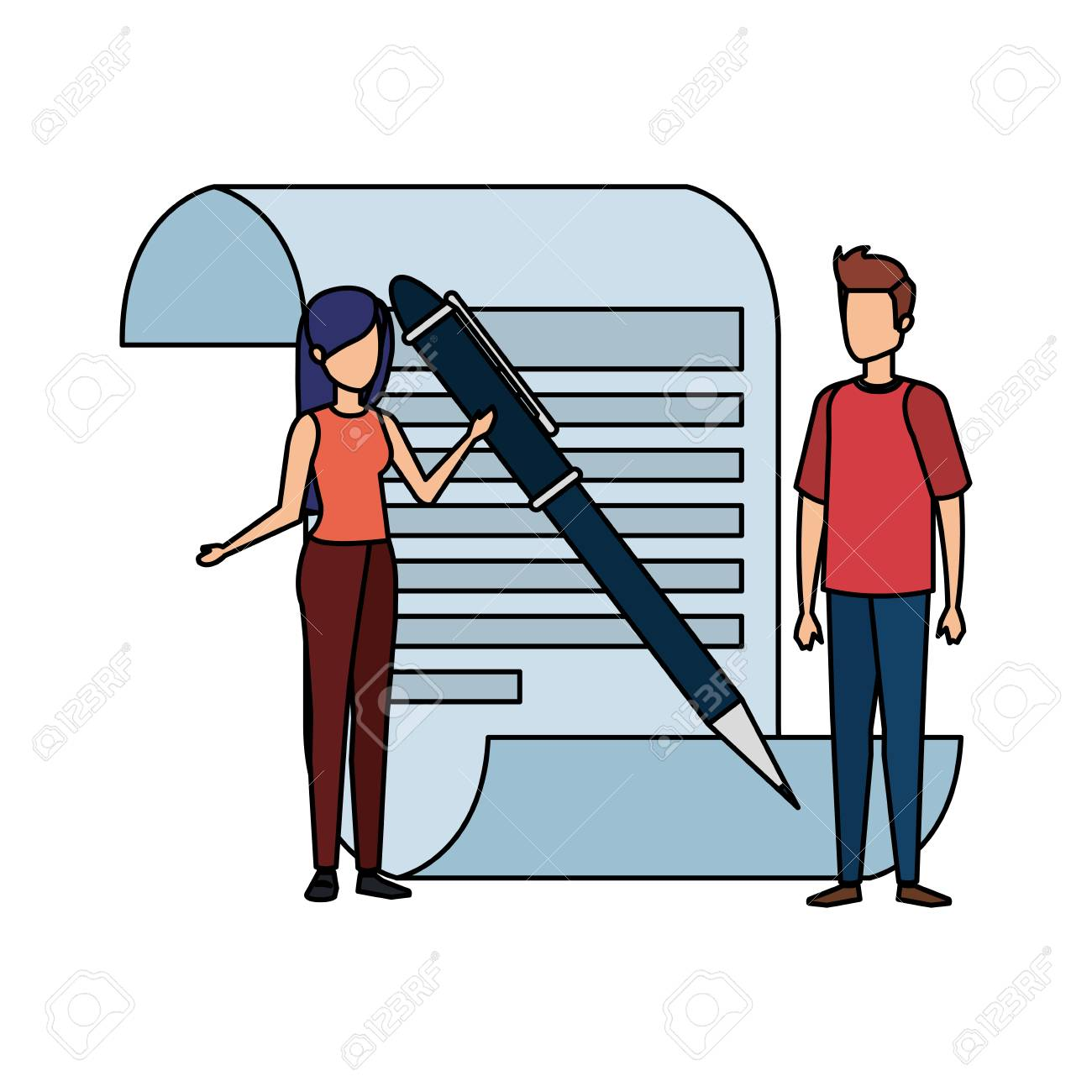 paper document with business person and pen vector illustration design - 126173230