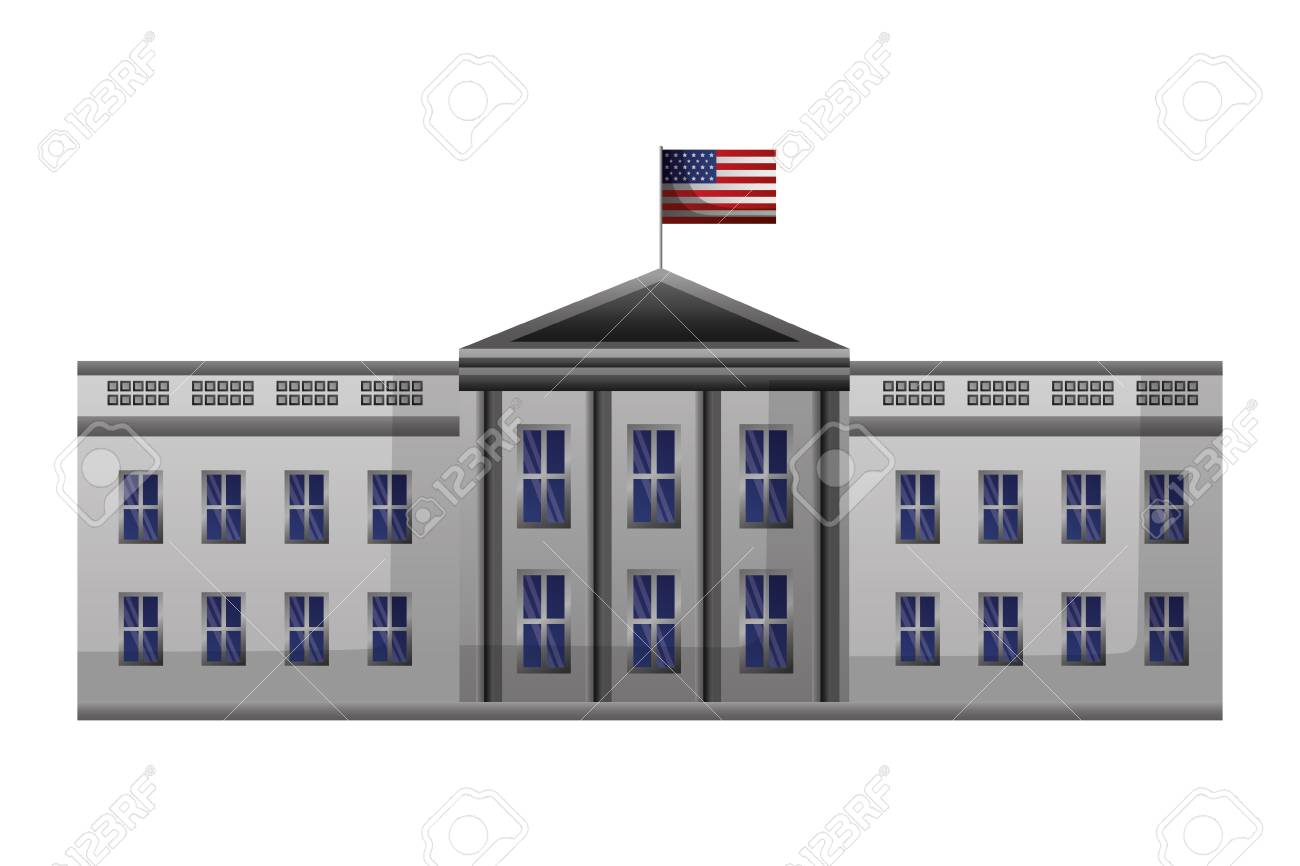 white house washington american flag happy presidents day vector illustration - 126014650