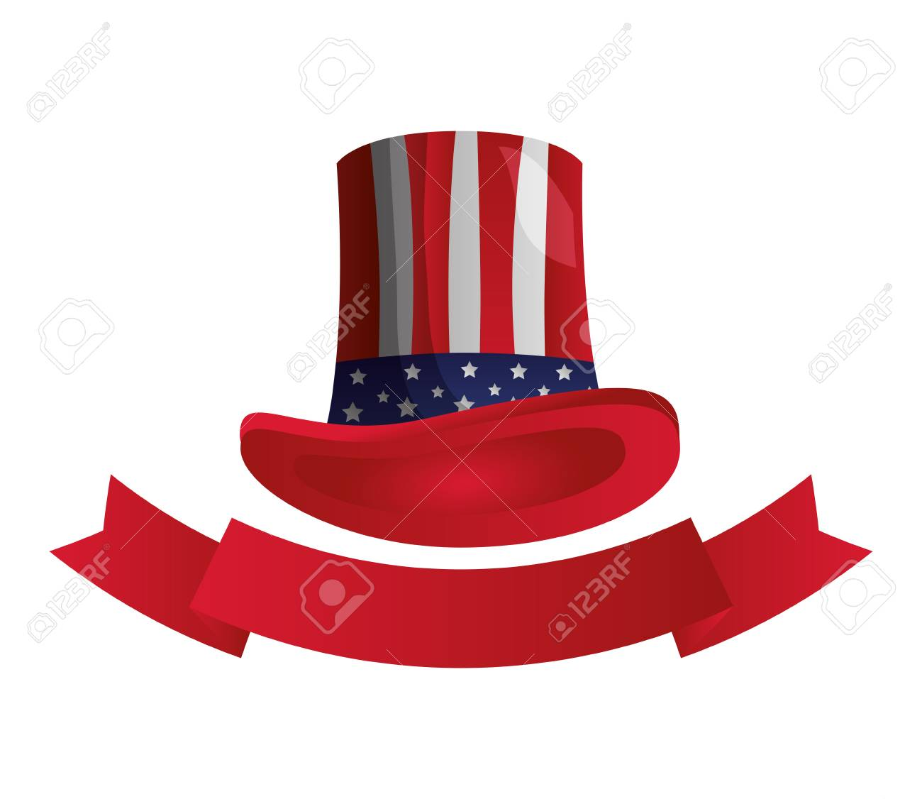 american flag hat happy presidents day vector illustration - 126014712