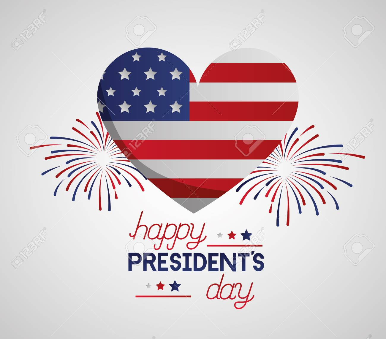 heart american flag fireworks happy presidents day vector illustration - 125979395