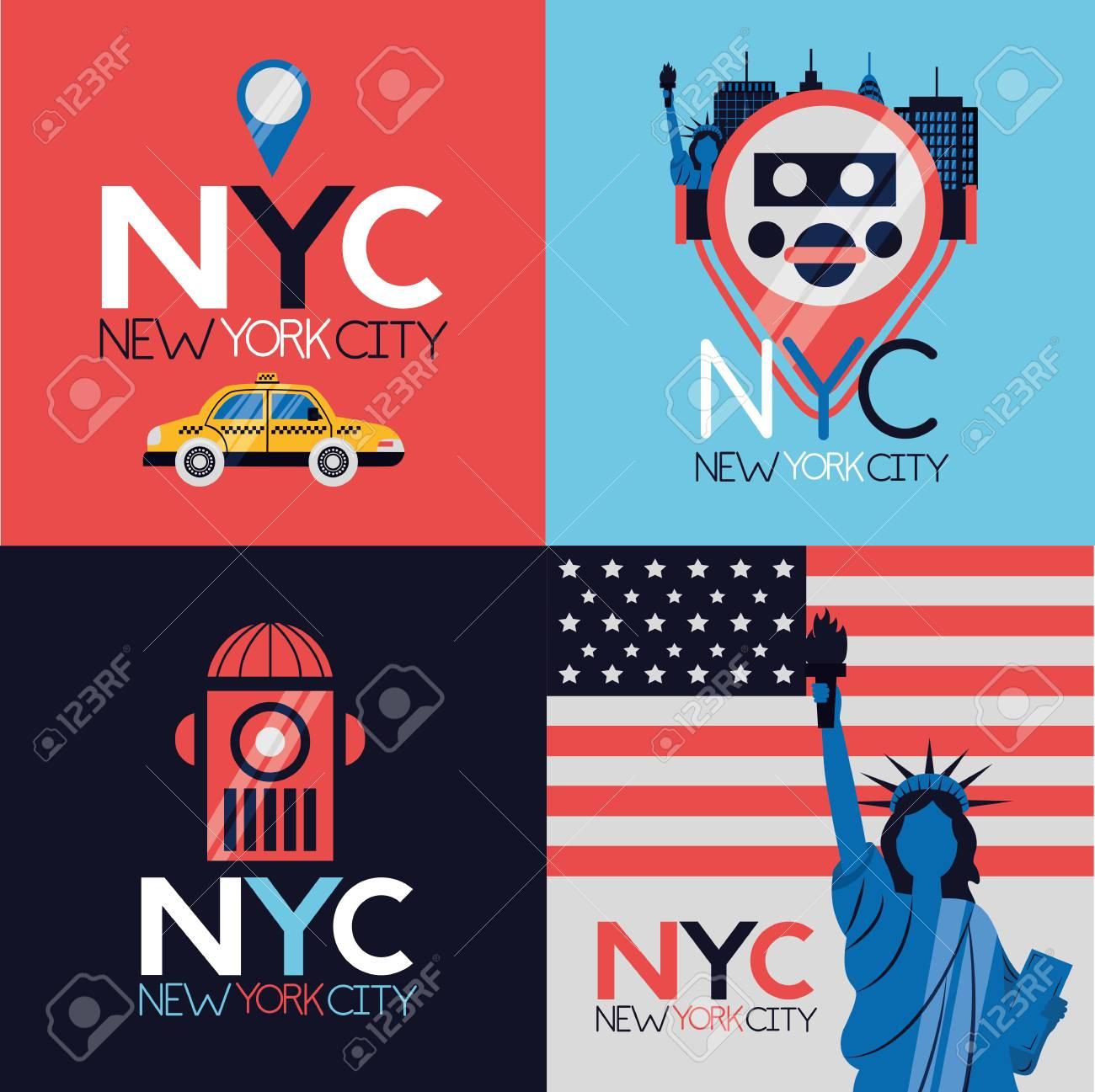new york city emblem icons vector illustration - 125981308