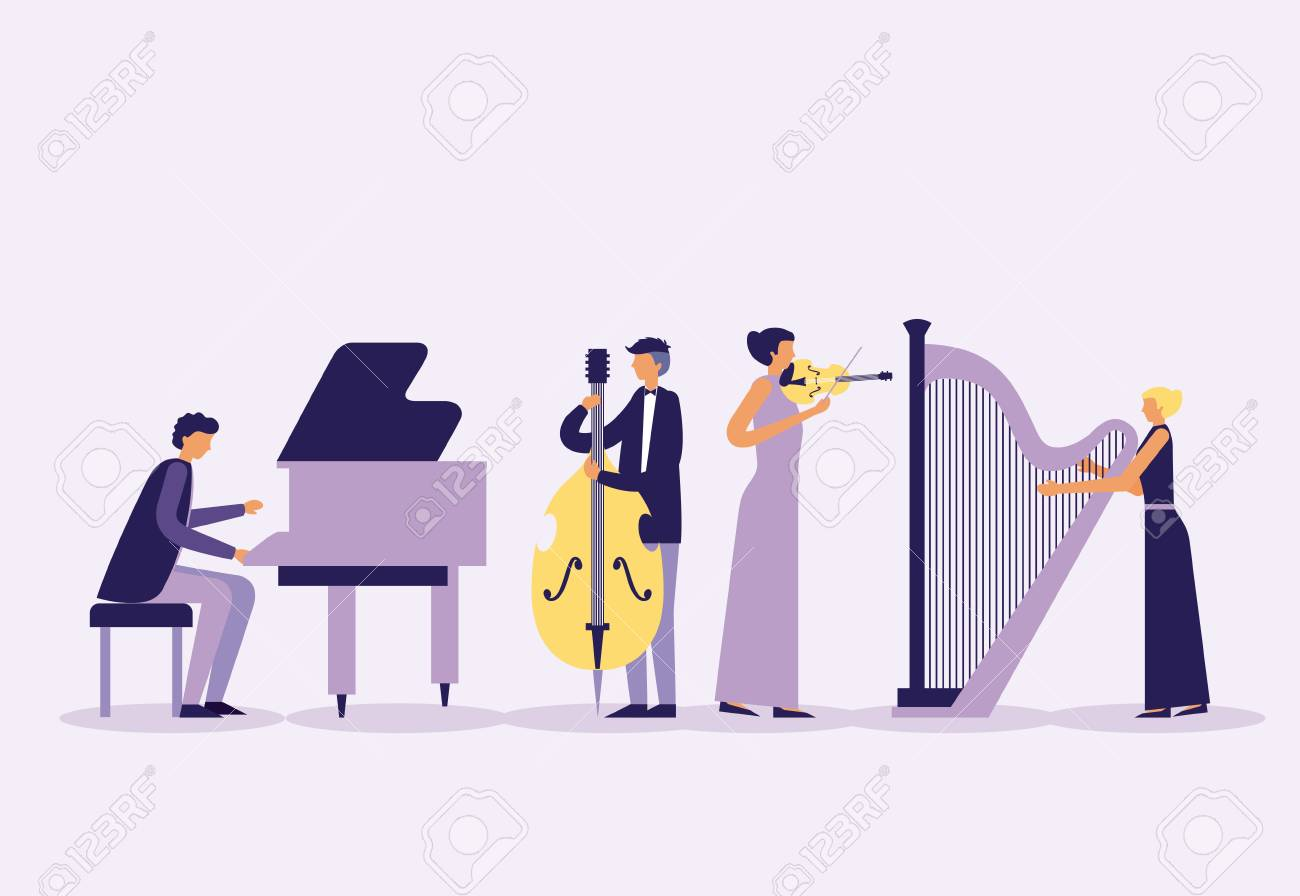 musician people band with instruments vector illustration - 125981366
