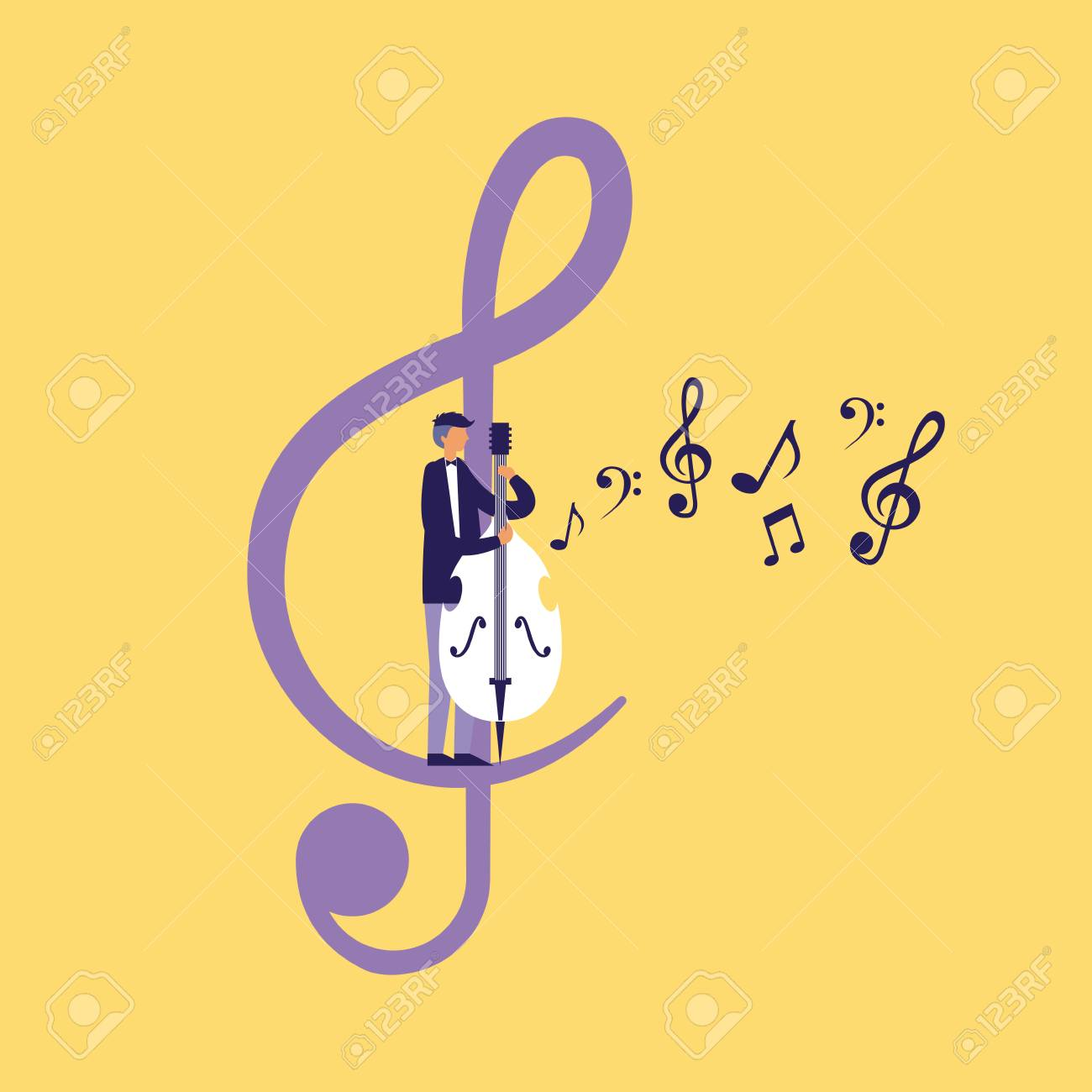 musician man with cello note music vector illustration - 125981431
