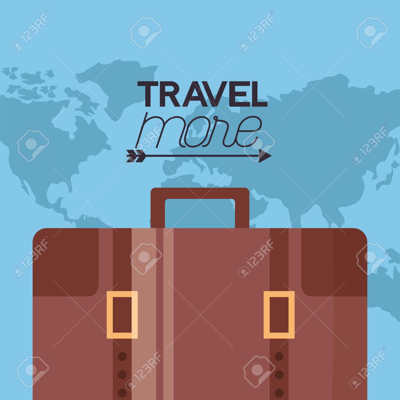 travel more briefcase travel map background vector illustration - 125647512