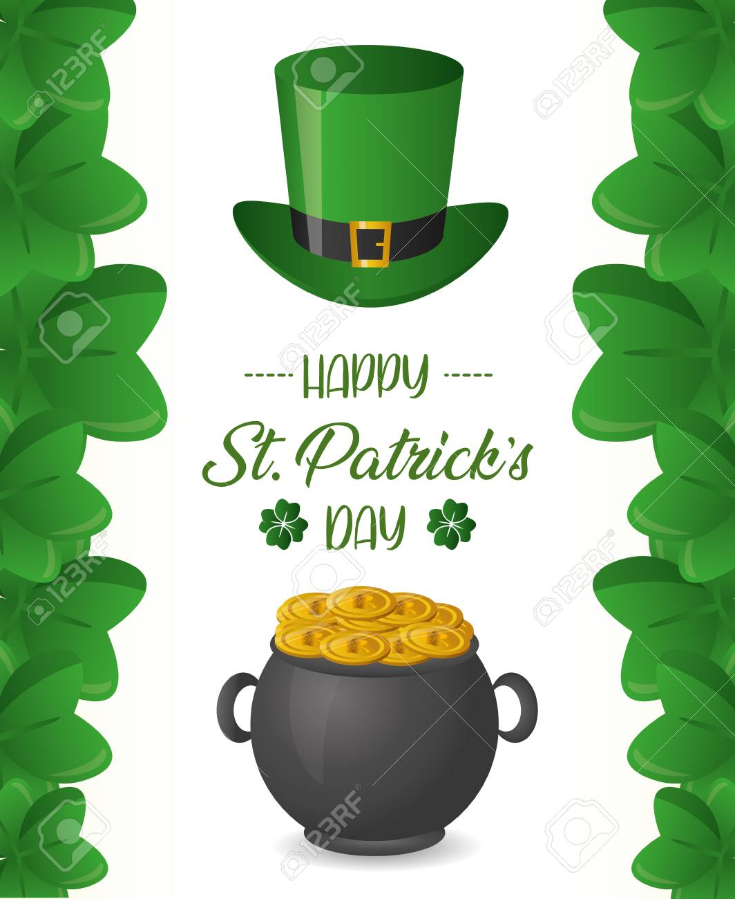 cauldron coins and hat happy st patricks day vector illustration - 125593398