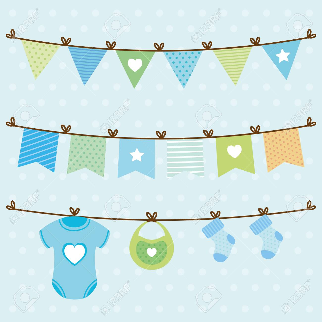 baby shower card with set items hanging vector illustration design - 125597121