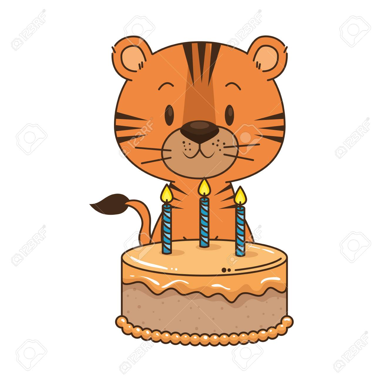 Cute Little Tiger Character Vector Illustration Design Royalty ...