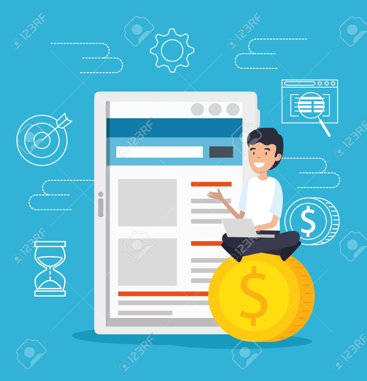 man with tablet and laptop technology with coins vector illustration - 125459848