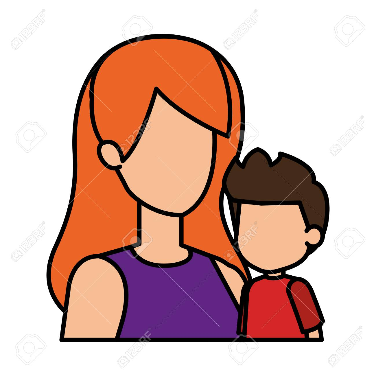 mother with son characters vector illustration design