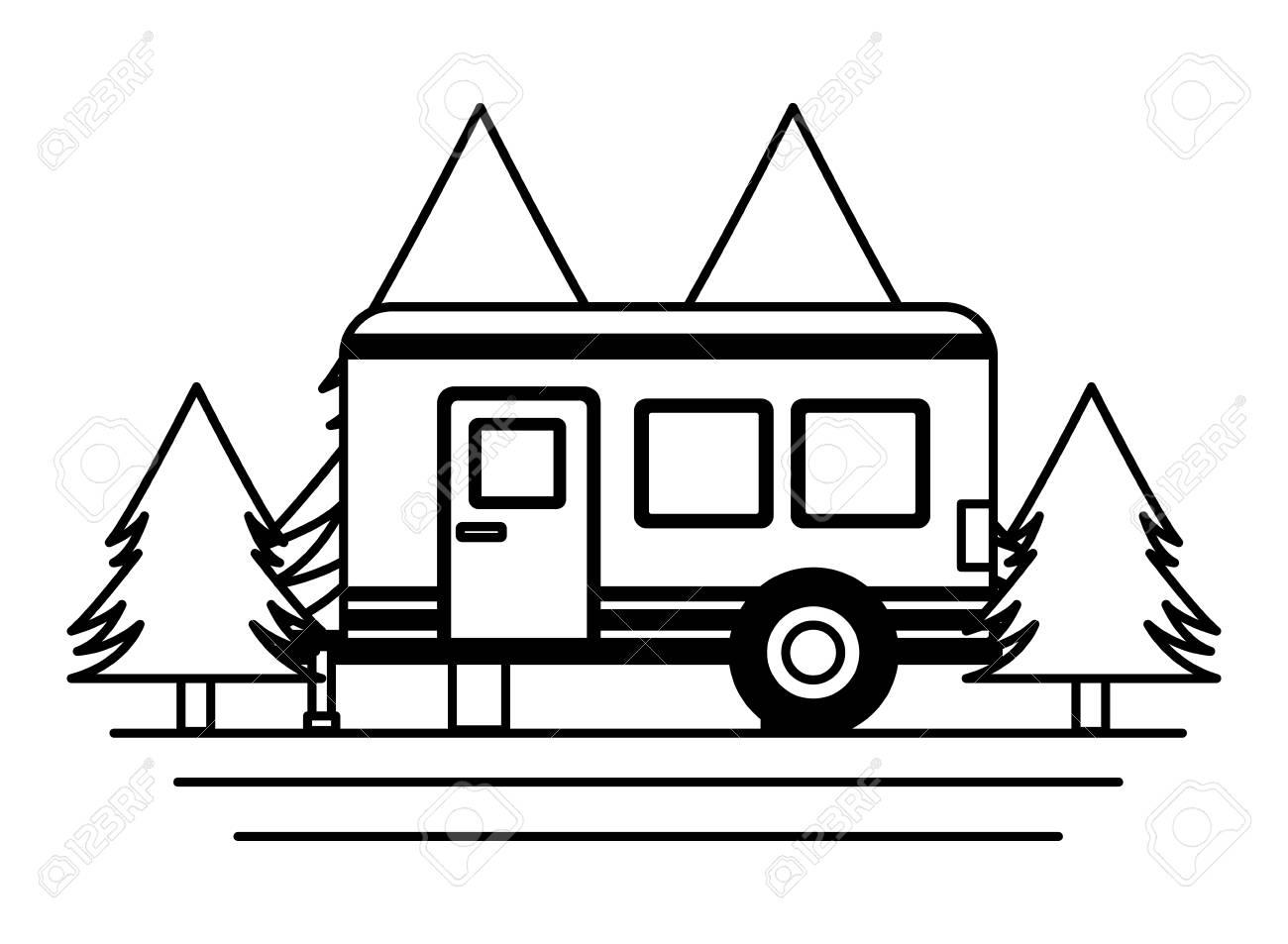 camper trailer trees pine scene vector illustration - 116853072