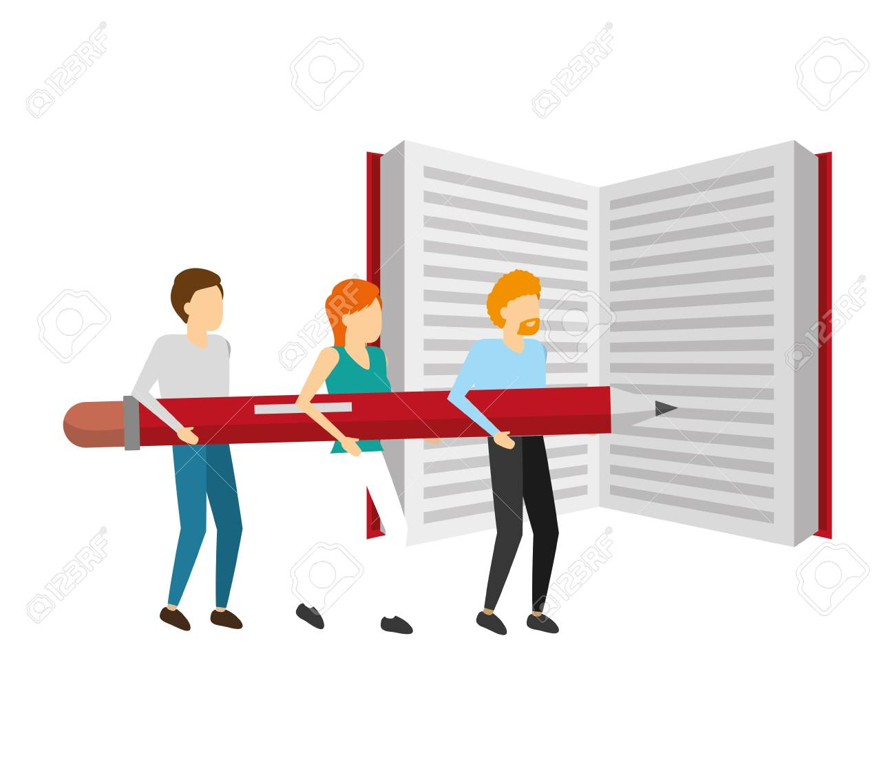 people business holding pencil with book vector illustration - 125288511