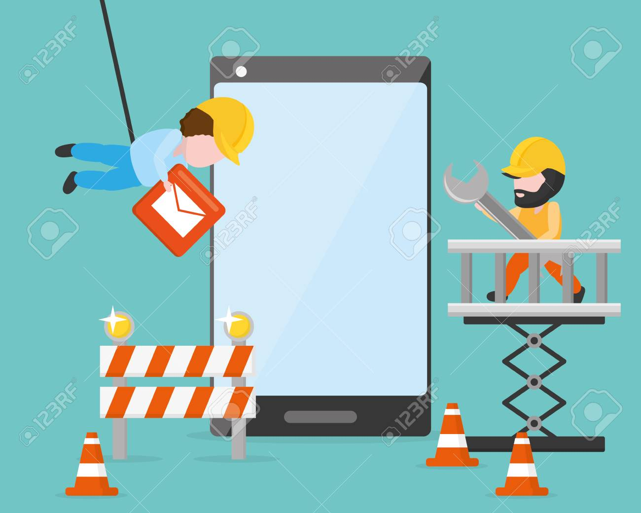 workers put button tools mobile app development - 116943818