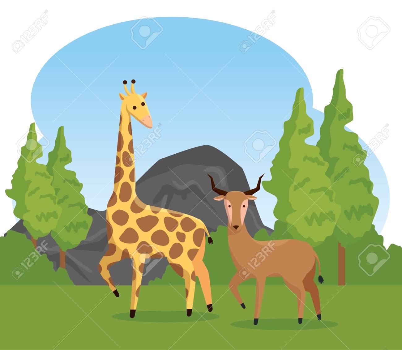 https://previews.123rf.com/images/yupiramos/yupiramos1902/yupiramos190207781/125257470-giraffe-and-deer-wild-animals-with-trees-vector-illustration.jpg