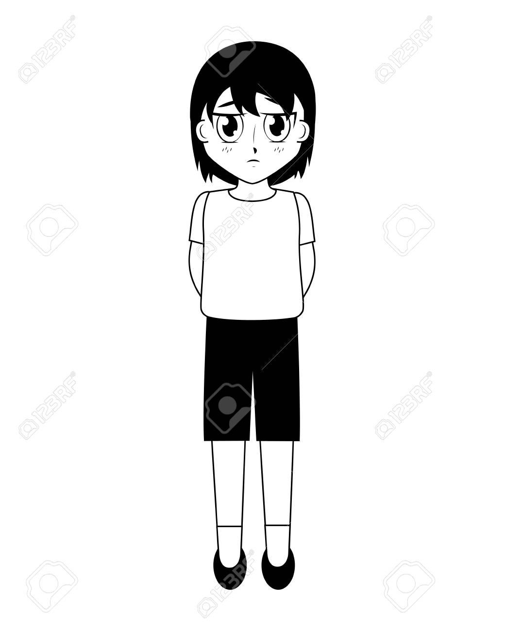 Anime boy manga character on white background vector illustration