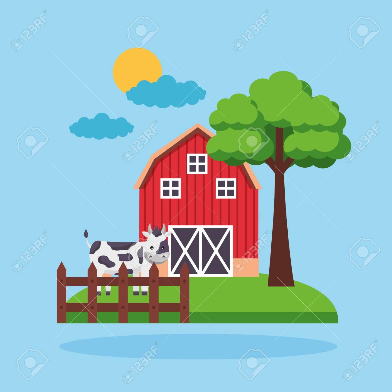 Barn Cow Fence Garden Tree Farm Fresh Cartoon Vector Illustration
