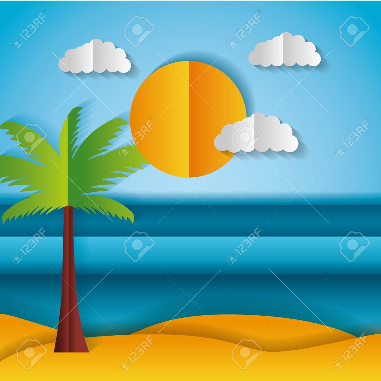 beach palm sun paper origami landscape vector illustration - 124861171