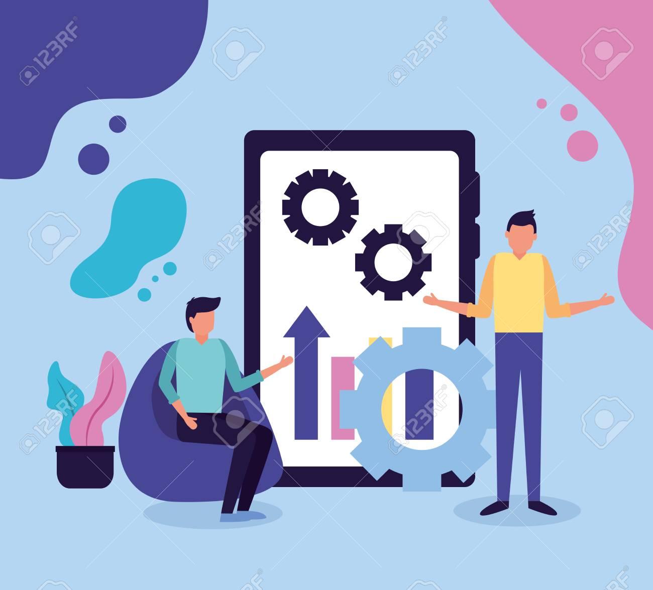 two men mobile chart gear business work vector illustration - 124741070